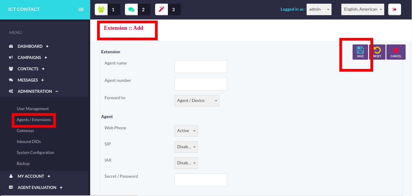 ICTContact-Create and Save-New Extension