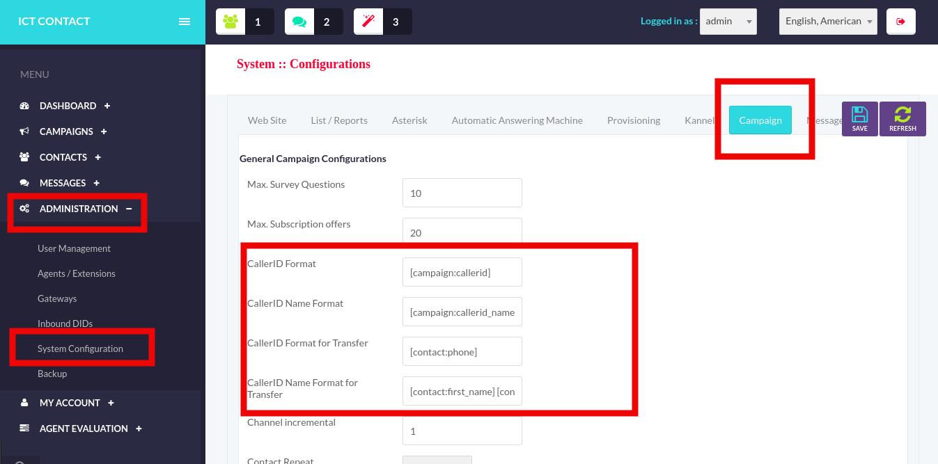ICTContact-Caller-ID-Enforcement-software, General-Camaign-Configuratoin-Application
