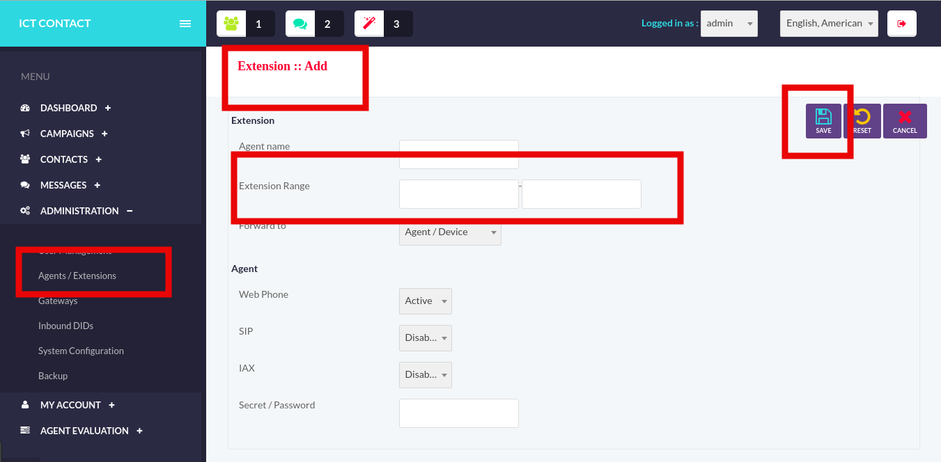 ICTContact-Create Extension-Group